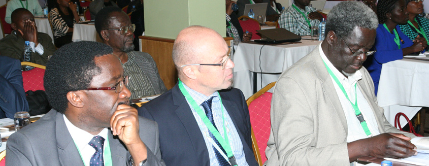 Prof. Paul Shiundu, DVC-ARS (left); Mr. Jaco Du Toit from UNESCO (centre); and Prof. Dennis Ocholla, University of Zululand (right) follow proceedings during the 2016 IKM conference